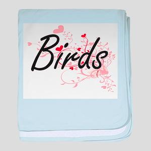 Birds Heart Design baby blanket