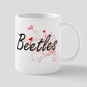 Beetles Heart Design Mugs