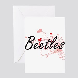 Beetles Heart Design Greeting Cards