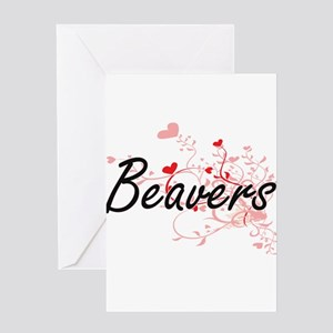Beavers Heart Design Greeting Cards