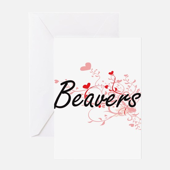 Beavers Heart Design Greeting Cards