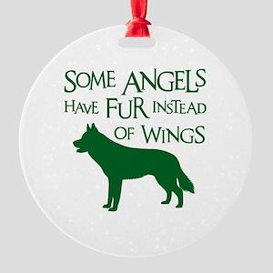 HUSKY ANGEL Round Ornament