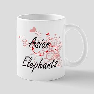Asian Elephants Heart Design Mugs