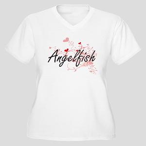 Angelfish Heart Design Plus Size T-Shirt