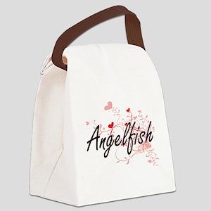 Angelfish Heart Design Canvas Lunch Bag