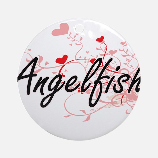 Angelfish Heart Design Round Ornament