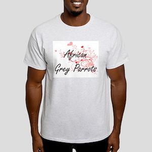 African Grey Parrots Heart Design T-Shirt