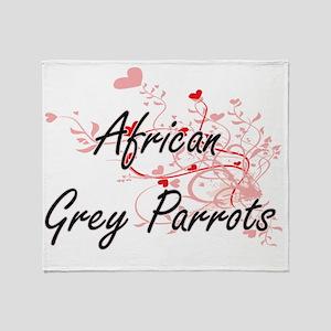 African Grey Parrots Heart Design Throw Blanket