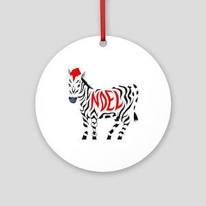 Christmas Noel Zebra Round Ornament