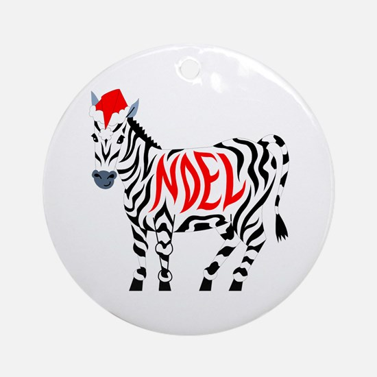 Christmas Noel Zebra Round Ornament