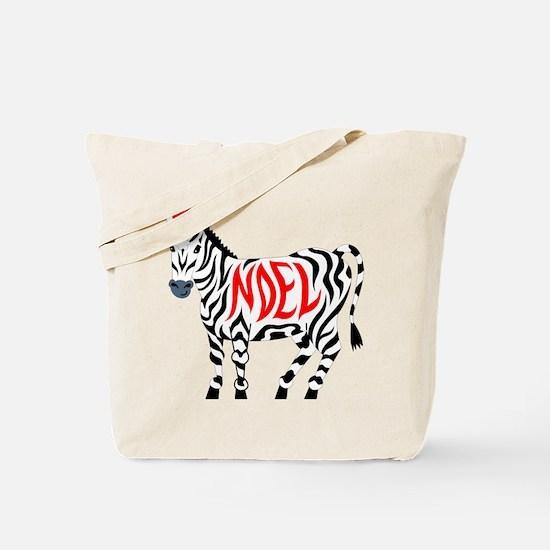 Christmas Noel Zebra Tote Bag