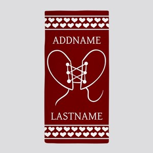 Personalized Name Red Doodle Hearts Beach Towel