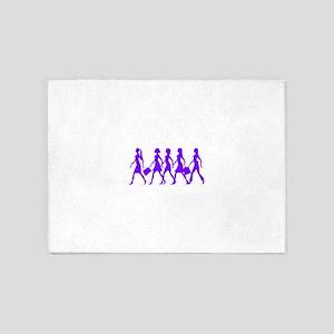 Purple Walking Women 5'x7'Area Rug