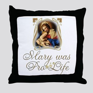 Mary was Pro-Life (vertical) Throw Pillow