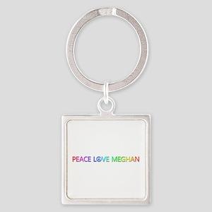 Peace Love Meghan Square Keychain