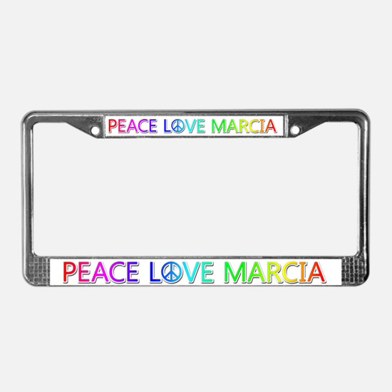 Peace Love Marcia License Plate Frame