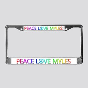 Peace Love Myles License Plate Frame