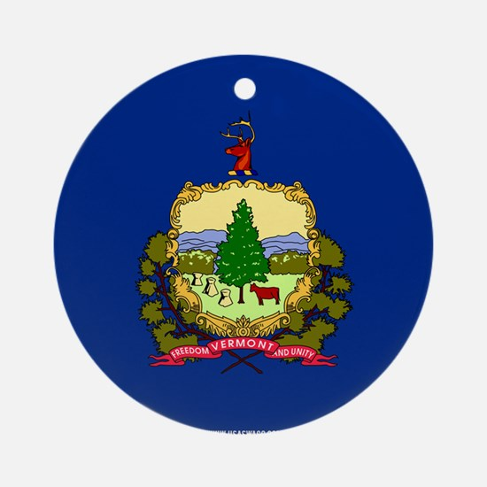 Vermont State Flag Round Ornament