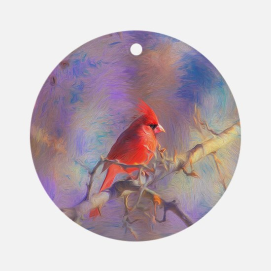 Lovely Cardinal Round Ornament