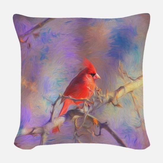 Lovely Cardinal Woven Throw Pillow