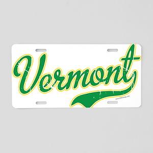 Vermont Script Font Vintage Aluminum License Plate