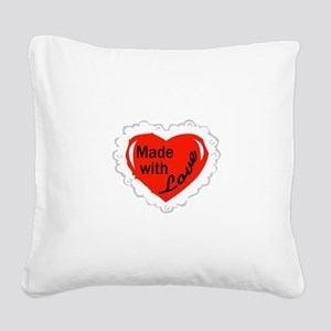 Made With Love Square Canvas Pillow