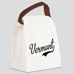 Vermont Script Black Canvas Lunch Bag