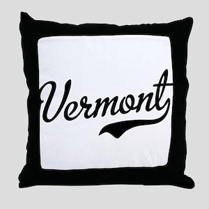 Vermont Script Black Throw Pillow