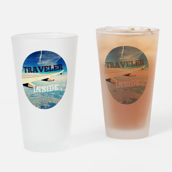 Cute Travel addict Drinking Glass