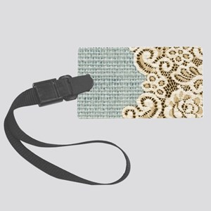 rustic country lace burlap Large Luggage Tag