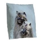 Keeshond Brothers Burlap Throw Pillow