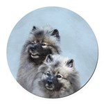 Keeshond Brothers Round Car Magnet