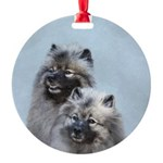 Keeshond Brothers Round Ornament