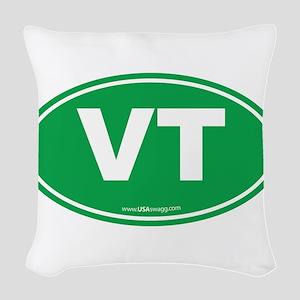 Vermont VT Euro Oval GREEN Woven Throw Pillow
