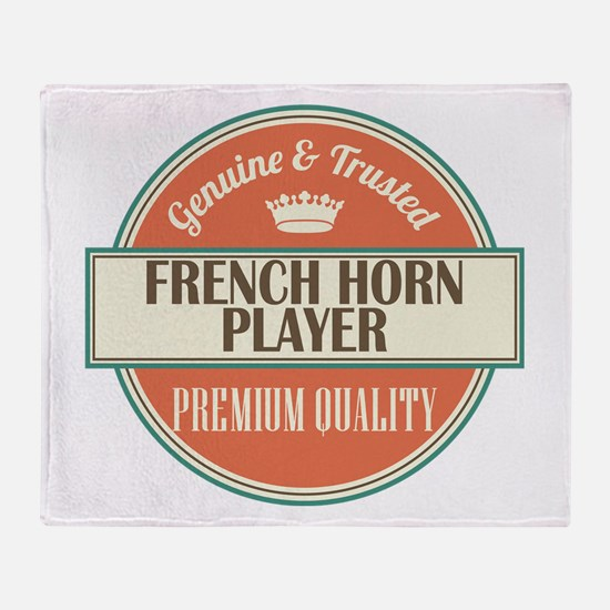 french horn player vintage logo Throw Blanket