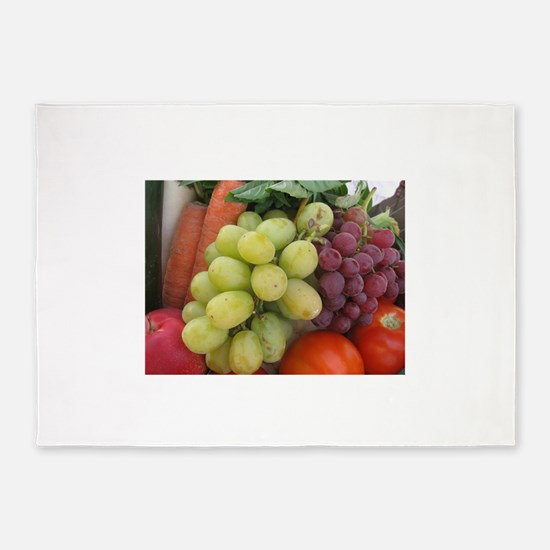 luscious wine country style fruit w 5'x7'Area Rug