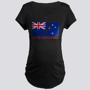 New Zealand Flag (labeled) Maternity T-Shirt