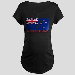 New Zealand Flag (labeled) Maternity T-Shirt