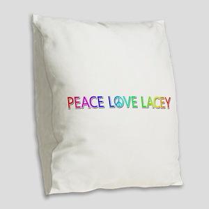 Peace Love Lacey Burlap Throw Pillow