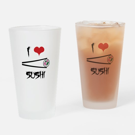 I Love Sushi Drinking Glass