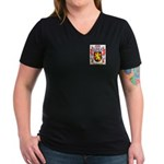 Metzig Women's V-Neck Dark T-Shirt