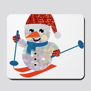 xmas ski snowman Mousepad