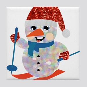 xmas ski snowman Tile Coaster