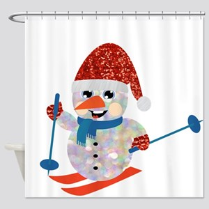 xmas ski snowman Shower Curtain