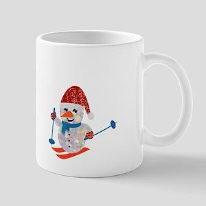 xmas ski snowman Mugs