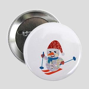 """xmas ski snowman 2.25"""" Button"""