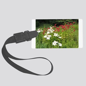 Red & White Holiday Flowers Large Luggage Tag