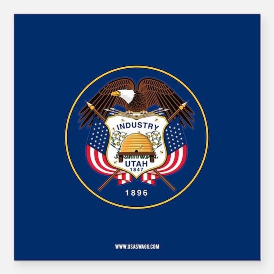 """Utah State Flag Square Car Magnet 3"""" x 3"""""""