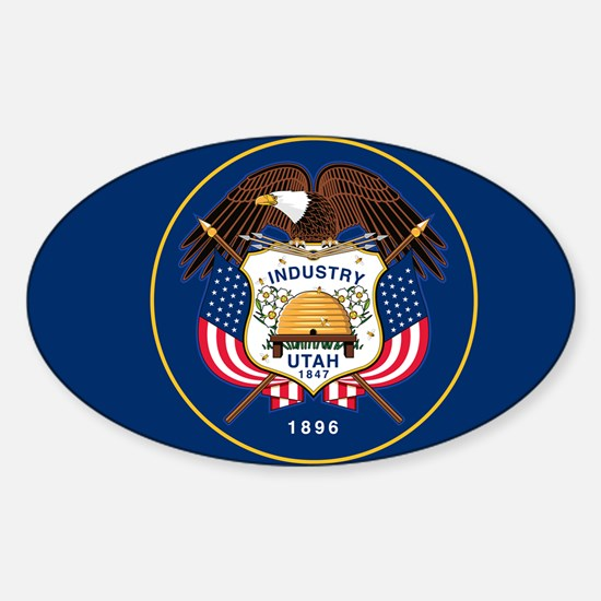 Utah State Flag Sticker (Oval)