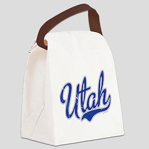 Utah State Script Font Vintage Canvas Lunch Bag